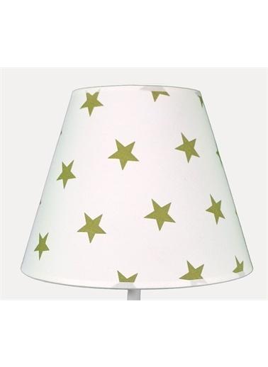 Şenay Aydınlatma Masa Lambası Kumaş B.Abajur-Beyaz Yeşil Yıldız Renkli